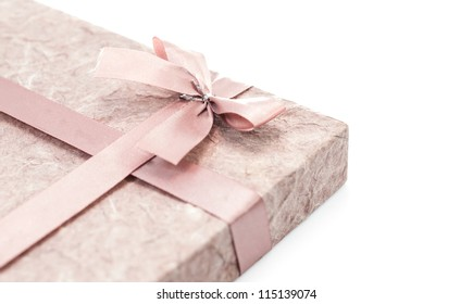 gift box with ribbon on white background isolate