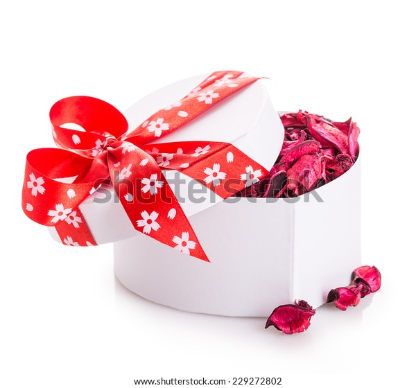 gift box ribbon red heart with flower petals Isolated on white background
