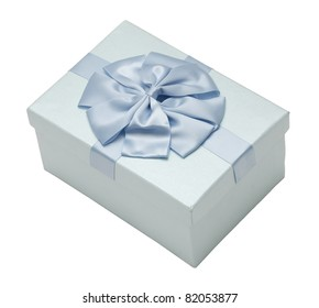 Gift box with ribbon from top corner view isolated on white