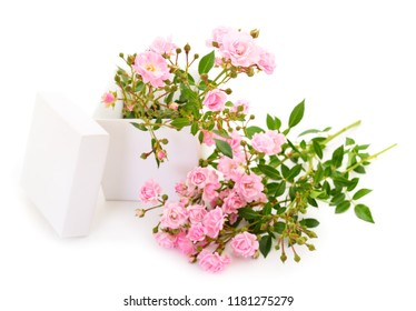 Gift box and rose flowers isolated on white.