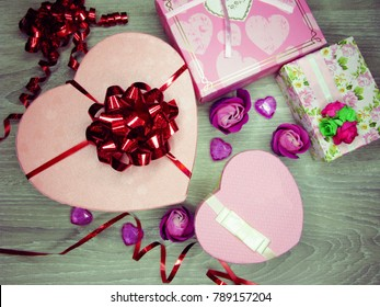 gift box with roses flowers greeting card love valentine's day with hearts