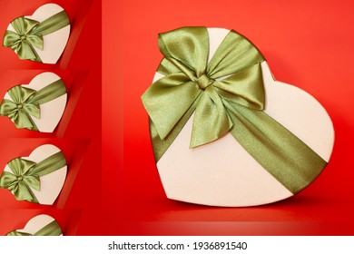 gift box in the shape of a heart tied with a green bow on a red background. New Year's packaging