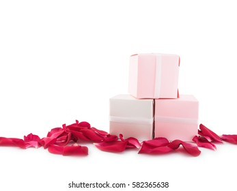 Gift box or souvenir and red petal flower of isolated