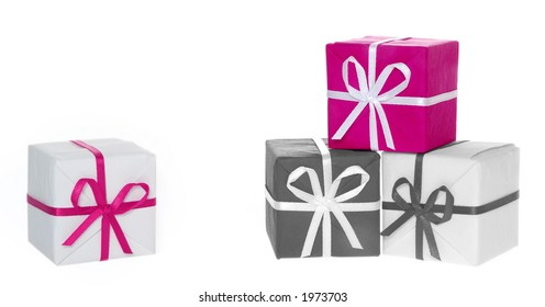 Gift box tower (b&w photo with color element)