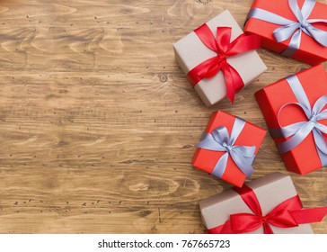 Gift box wrapped Christmas presents with bows and ribbons, Christmas frame boxing day background and banner.