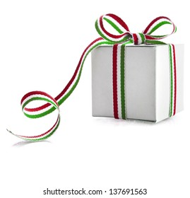 Gift Box Wrapped Ribbon Tape  isolated on white background