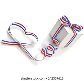 Gift Box Wrapped Ribbon Tape Shape Heart Valentine's Day concept isolated on white background