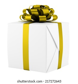gift box with yellow ribbon isolated on white background