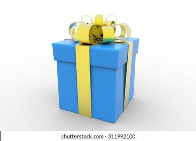 Gift box with yellow ribbon  over white background 3d illustration