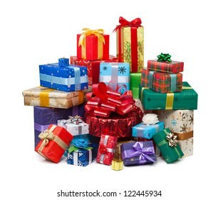 Gift boxes with bow and ribbon on white background