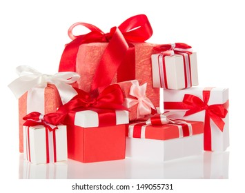 Gift boxes of the different size isolated on white