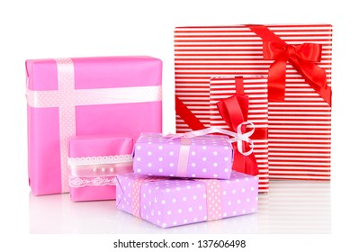 Gift boxes, festive wrapping isolated on white