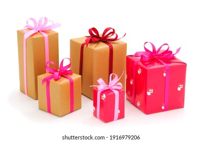 Gift boxes, gifts on a white background isolated. Vacation. Valentine's Day. Women's Day. mothers Day.