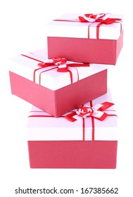 Gift boxes, isolate on white