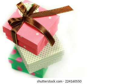 Gift boxes isolated over white background