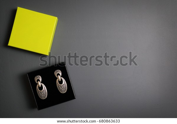 Gift Boxes Jewelry Earrings On Gray Stock Photo Edit Now 680863633