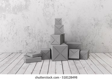 Lot of gift boxes models background rough wall and wooden floor