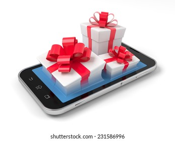 Gift boxes on smartphone over wite.