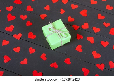 Gift boxes on wooden table. Gift image suitable for Valentines Day, Christmas, New Year or Birthday. With copyspace