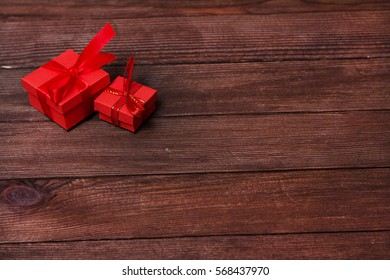 Gift boxes on wooden table. Collection of gift boxes on wooden board holidays concept. Presents for any holiday concept.