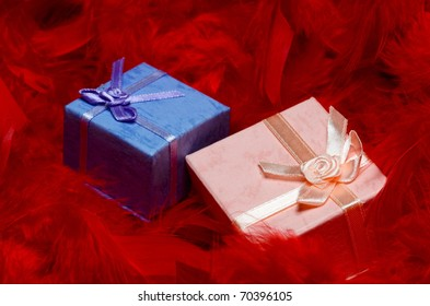 gift boxes over red feathers