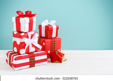 Gift boxes and present for christmas on wood table