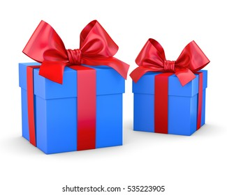 gift boxes red blue for Christmas and New Year's Day white background isolate 3d rendering