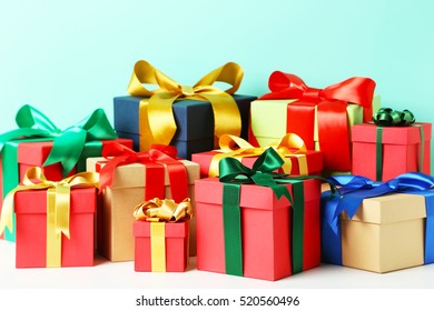 Gift boxes with ribbon on white background