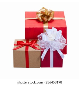 Gift boxes with ribbons. Christmas presents