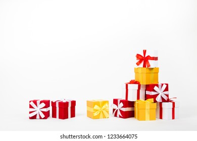 Gift boxes in the shape of a pyramid. Isolated
