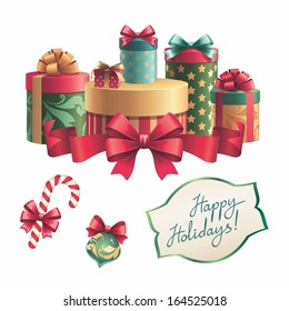 Shutterstockwacomkagift boxes gift boxes stack handwritten holiday greetings christmas isolated clip art design elements set negle Choice Image
