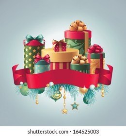 Shutterstockwacomkagift boxes gift boxes stack with ribbon tag isolated clip art holiday greeting card christmas illustration negle Choice Image
