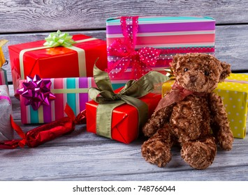 Gift boxes and Teddy bear. Perfect presents for a girl's birthday or Christmas. Make people happy.