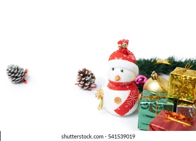 Gift boxs on Christmas with snowman and some decoration on white background, celebration christmas and happy new year 2017.