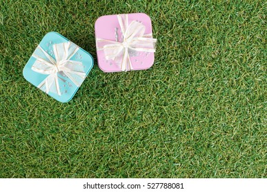 The gift boxs on the grass ground
