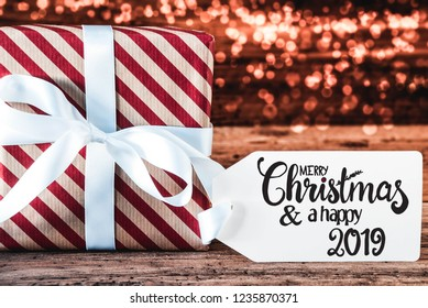 Gift, Calligraphy Merry Christmas And A Happy 2019, Bokeh