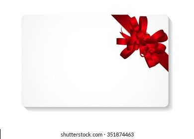 Gift Card with Red Bow and Ribbon Illustration
