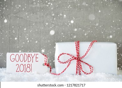 Gift, Cement Background With Snowflakes, Goodbye 2018, Snow