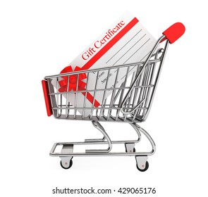Gift Certificate in Shopping Cart on a white background. 3d Rendering