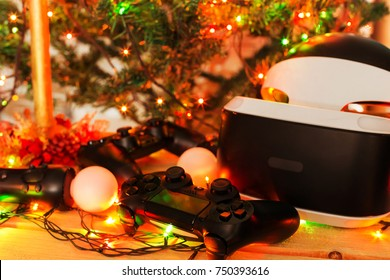 A gift for Christmas, New Year, St. Valentine's Day. A game console as a gift. Soft Focus