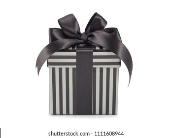 gift concept black box with stripes with bow isolated.