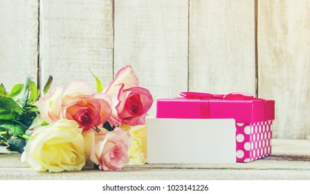 gift and flowers. selective focus.