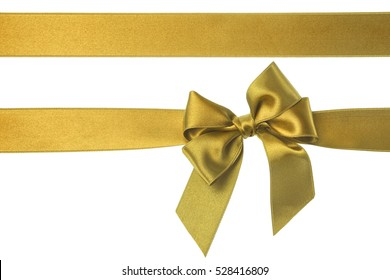 Gift Gold Ribbon Bow isolated on white background