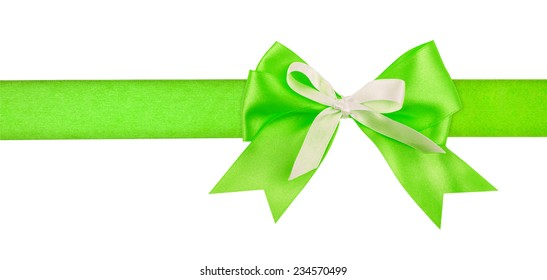 Gift green ribbon and bow isolated on white background.