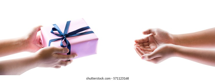 gift in the hand on white isolate background