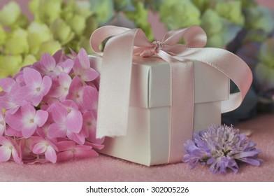 Gift and Hydrangeas