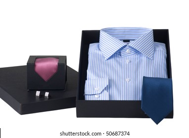 gift idea, man's shirt and ties in elegant box, isolated on white