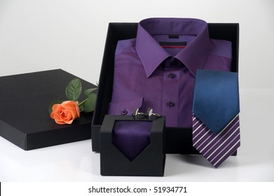 gift idea, men's shirt and choice of ties in elegant box, space for logo and copy