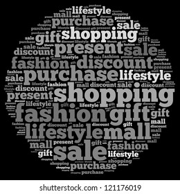 gift info-text graphics and arrangement concept on white background (word cloud)