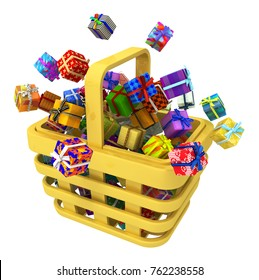 Gift large group in shopping basket 3d illustration, horizontal, isolated, over white